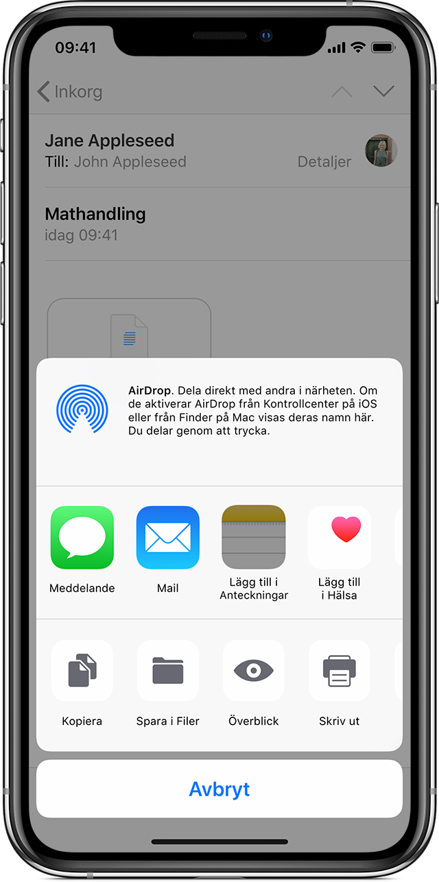 Skärmen Mail på iPhone