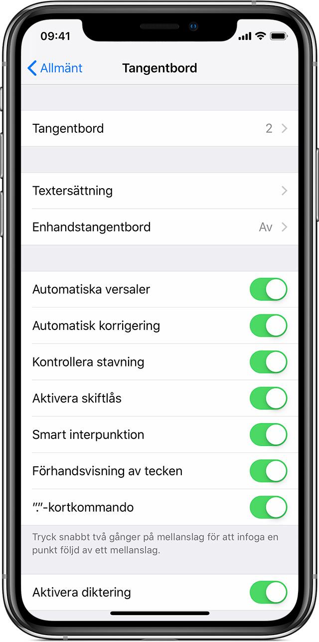 Om tangentbordsinställningar på en iPhone 0d5ca5068a30f