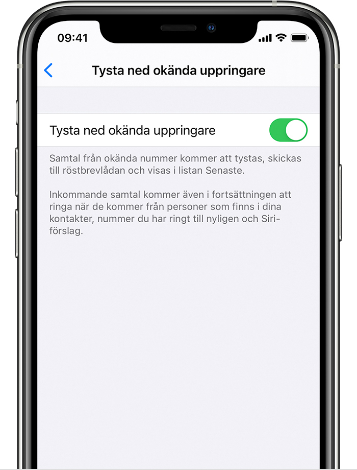 iPhone som visar hur du aktiverar Tysta ned okända uppringare