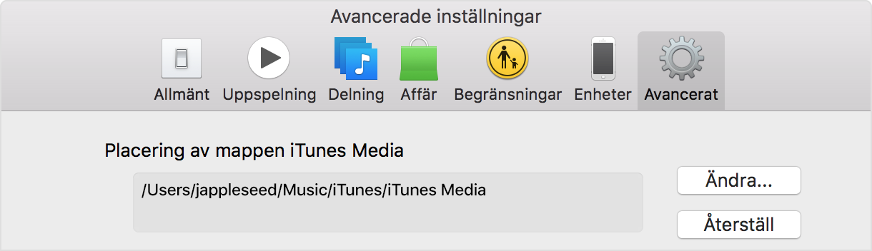 Placering av mappen iTunes Media