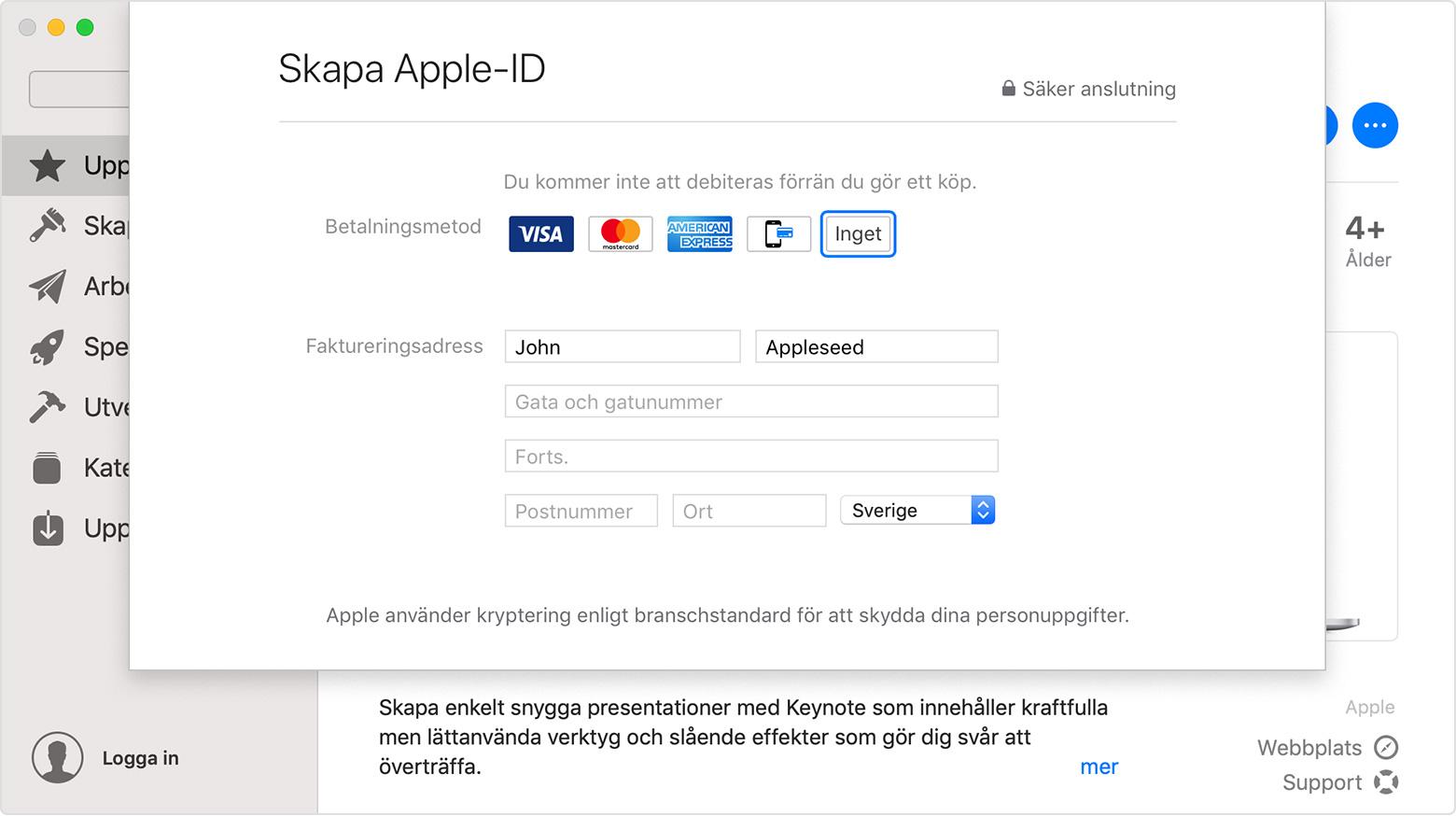 Skapa Nytt Apple Id