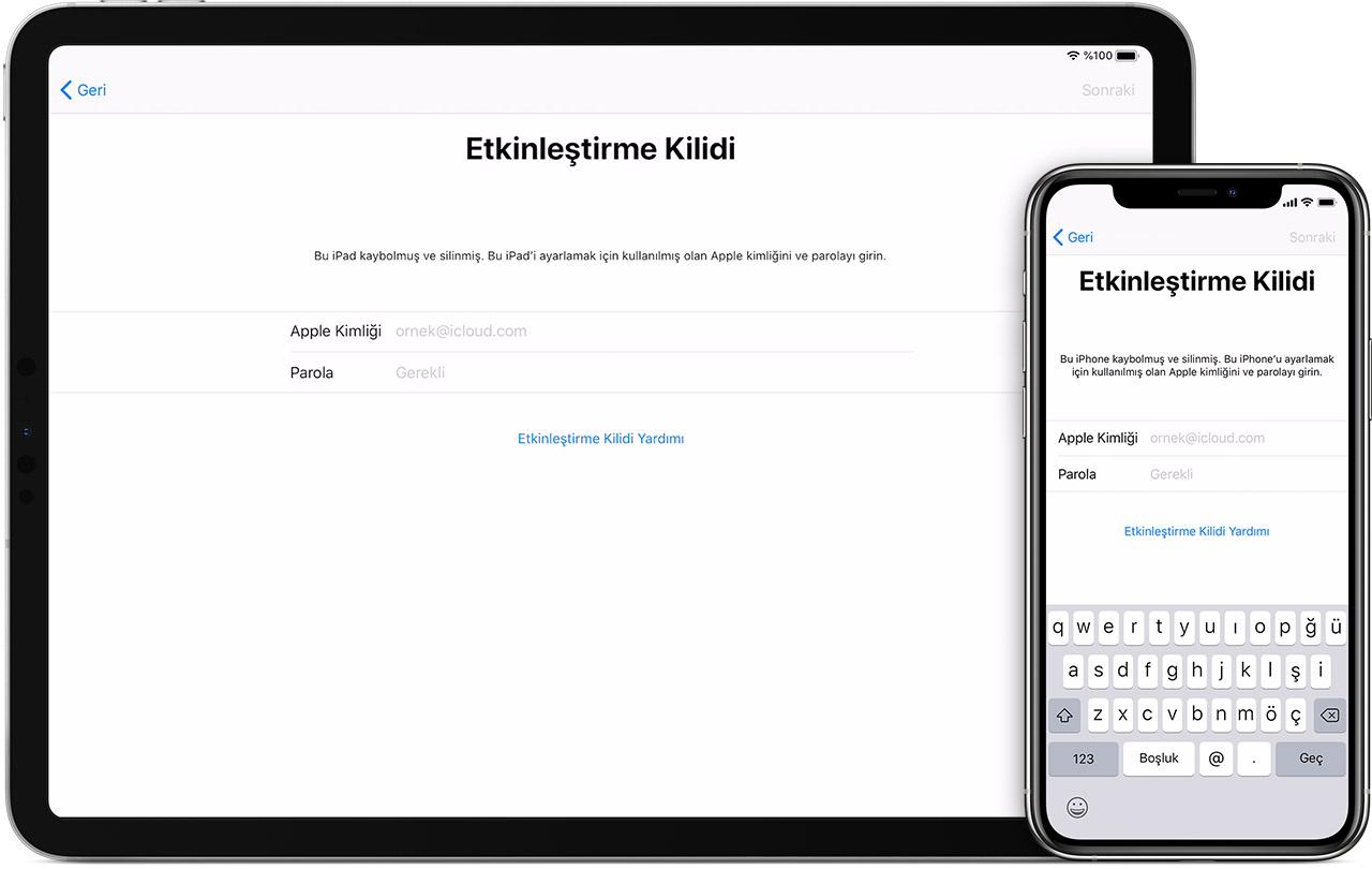iPad ve iPhone'daki Etkinleştirme Kilidi