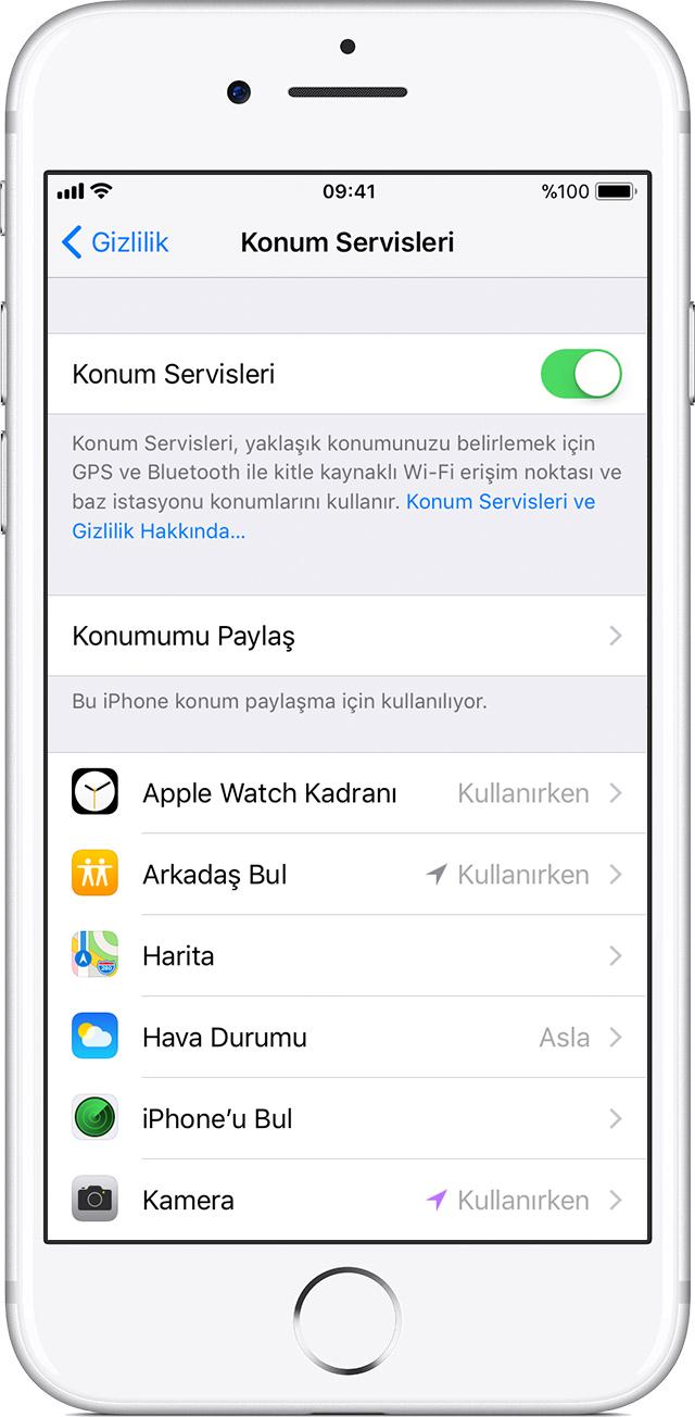 iphone yer izleme