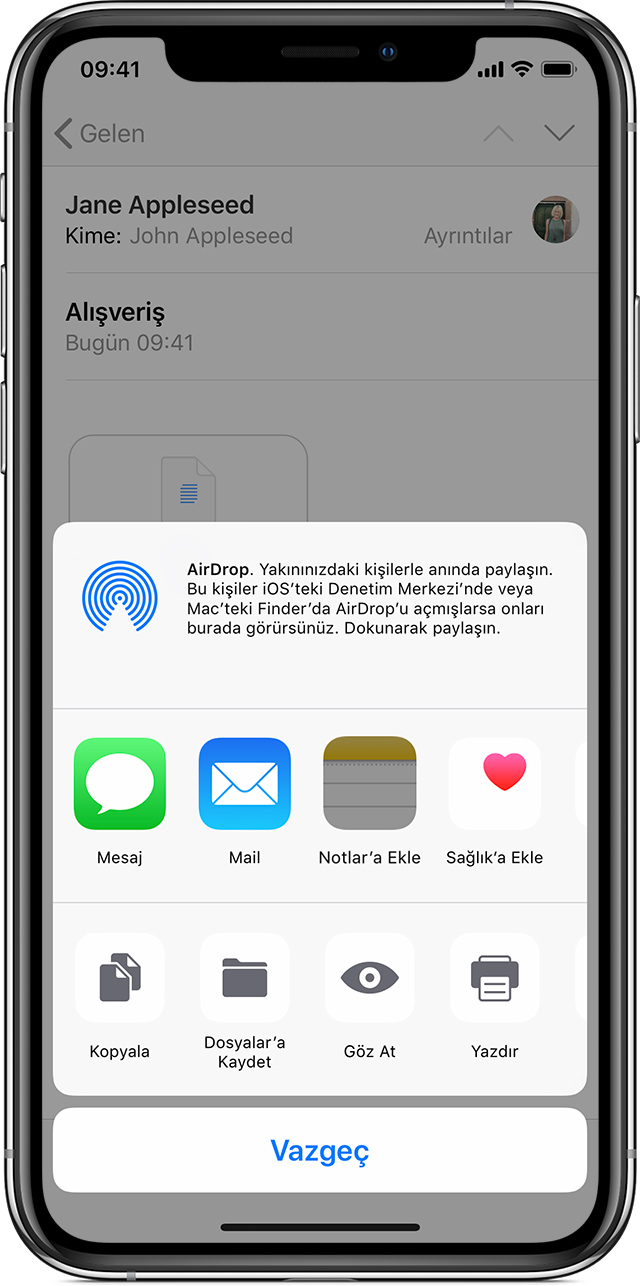 iPhone'daki Mail ekranı