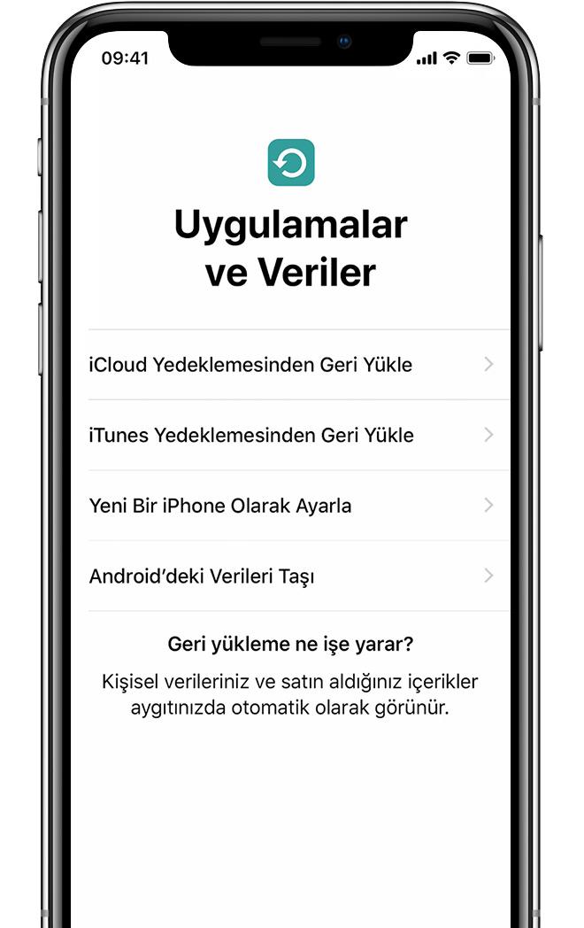 iPhone'daki Uygulamalar ve Veriler ekranı