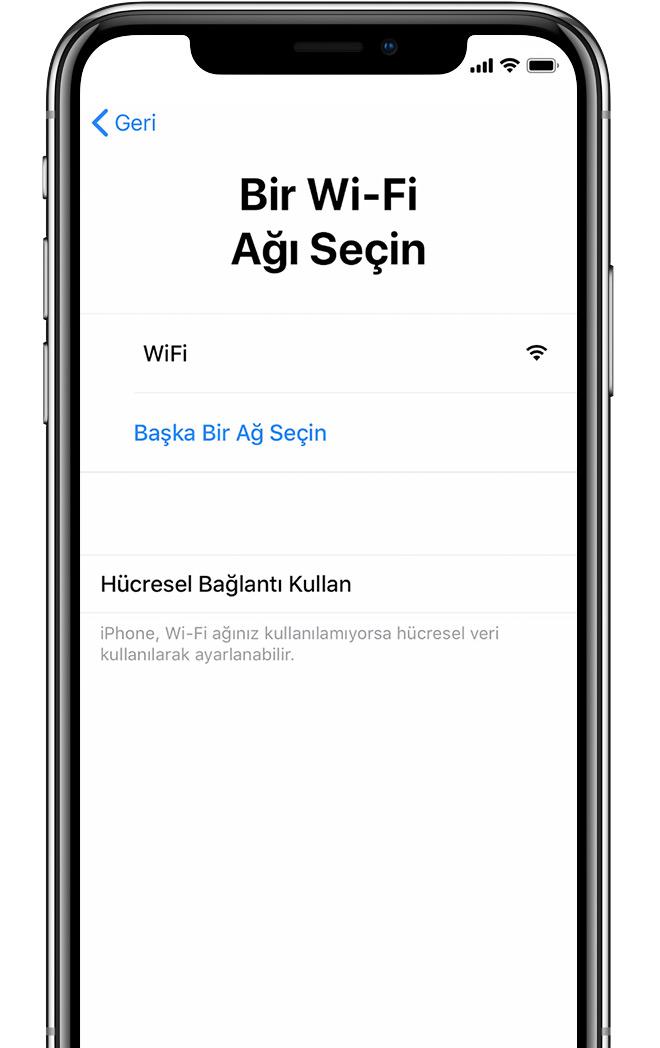 iPhone'daki Bir Wi-Fi Ağı Seçin ekranı
