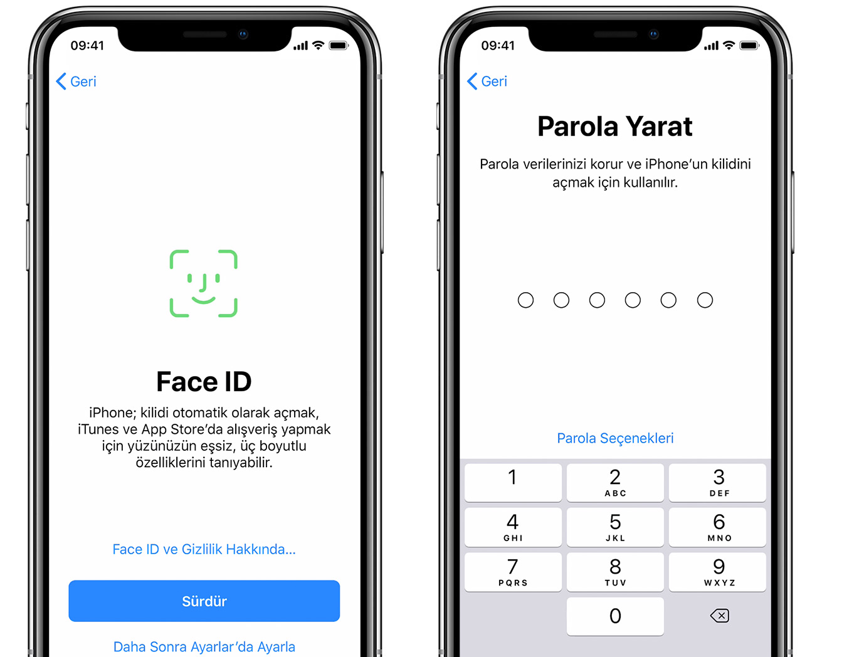 iPhone'daki Face ID ve Parola Yarat ekranları