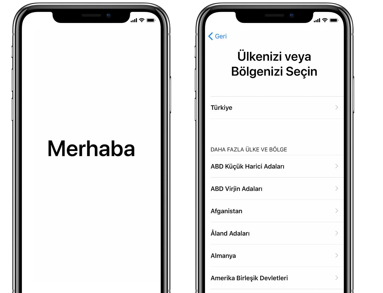 iPhone'daki Merhaba ekranı ve Ülkenizi veya Bölgenizi Seçin ekranı