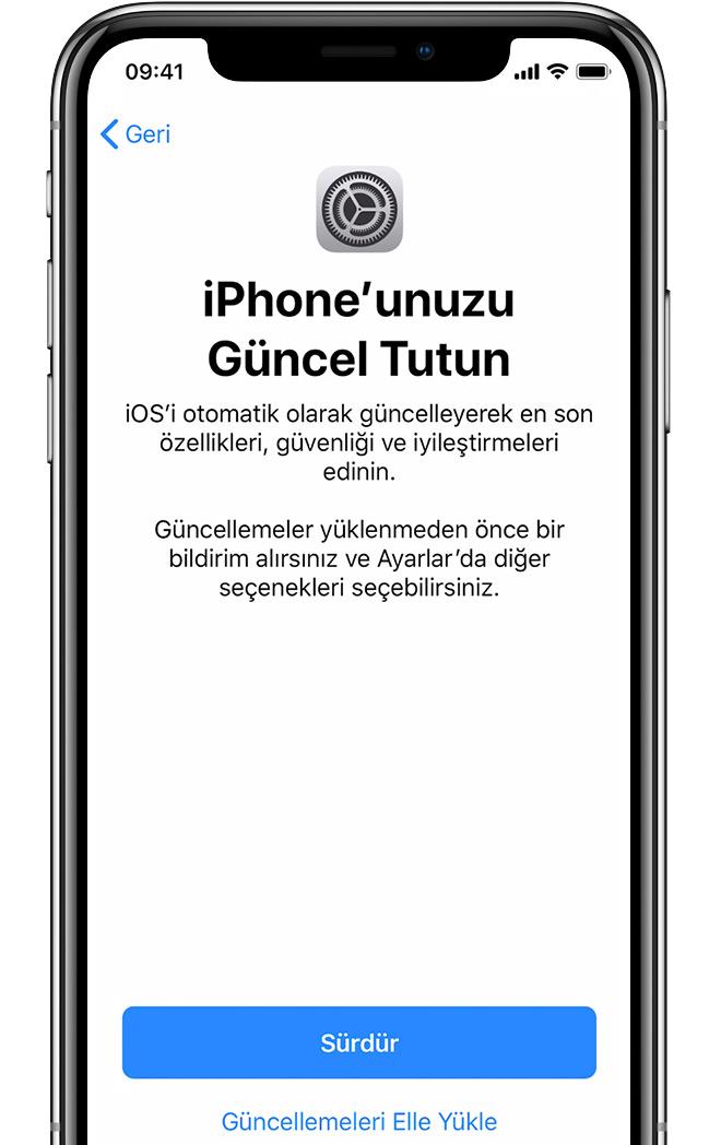 iPhone'daki otomatik güncellemeleri ayarlama ekranı