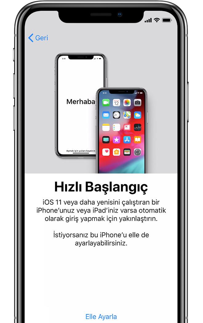 iPhone'daki Hızlı Başlangıç ekranı