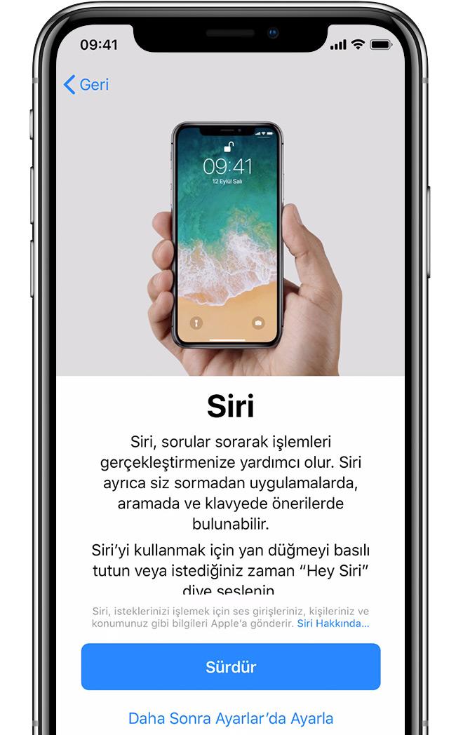 iPhone'daki Siri'yi ayarlama ekranı