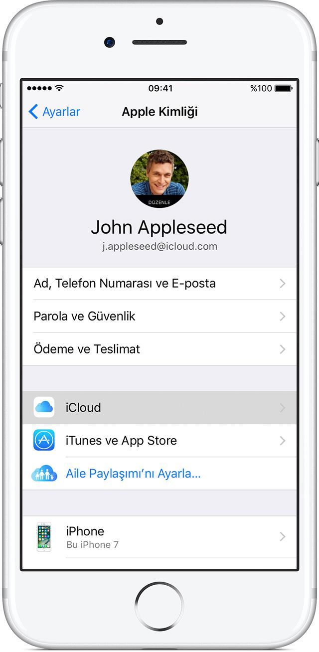iPhone'da iCloud ayarları