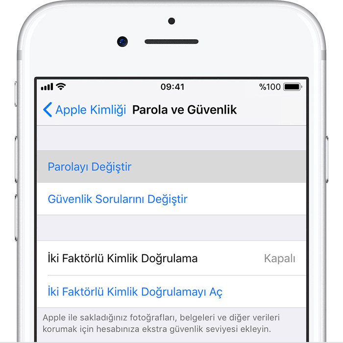 iphone yazilim guncelleme parolasi