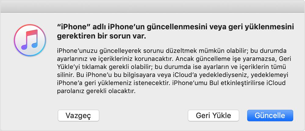 iphone yazılım güncelleme şifremi unuttum