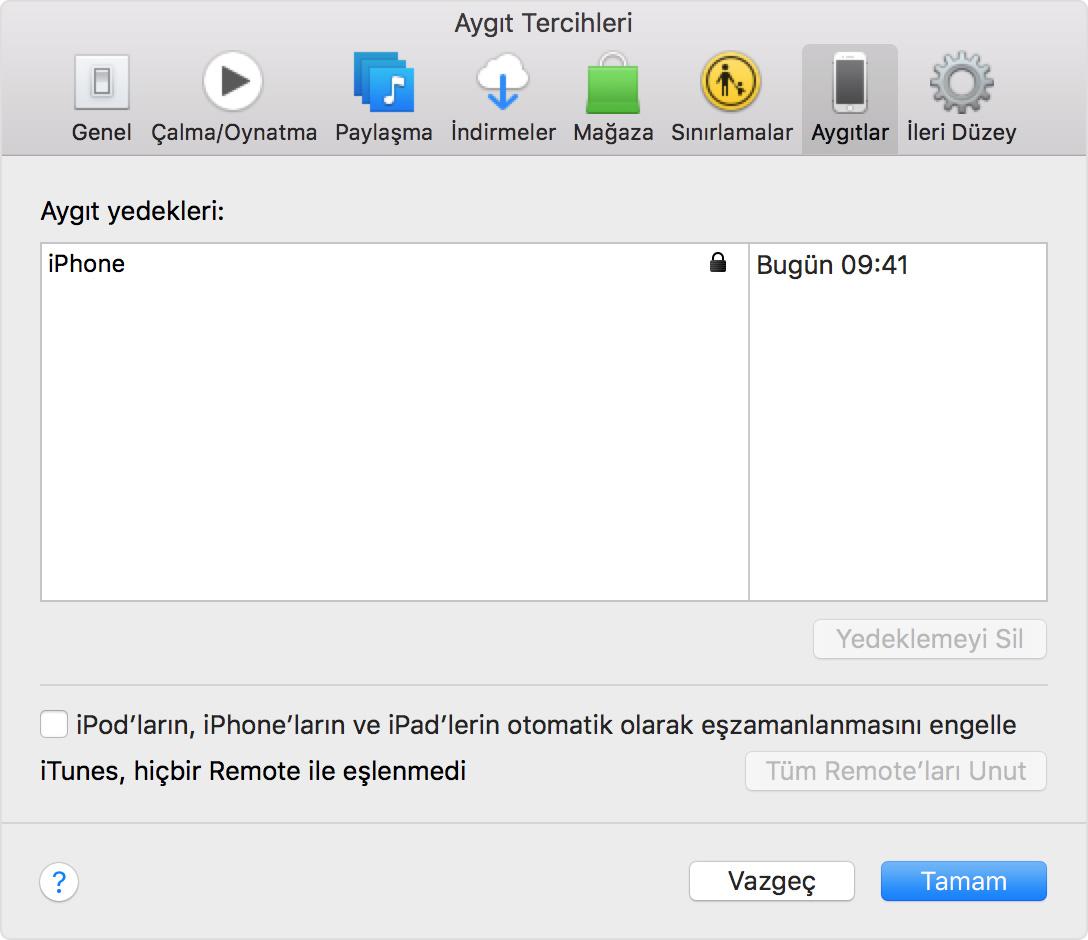 Tercihler > Aygıtlar'da iTunes'daki yakın zamanda alınmış yedeklemeleri bulma