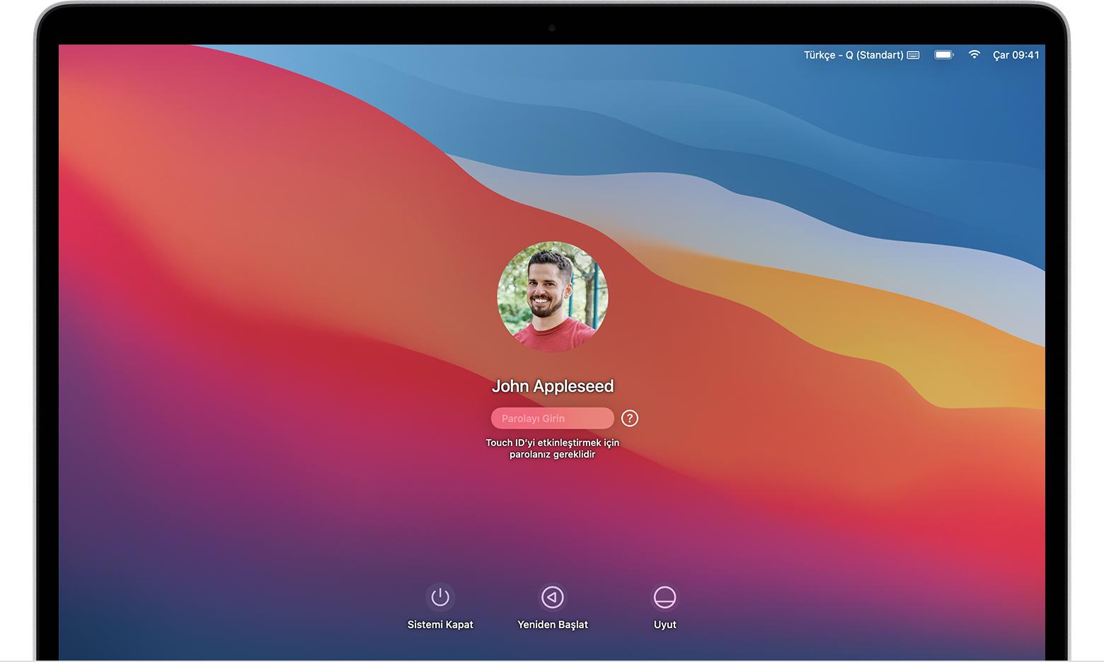 macOS Big Sur kullanıcı oturum açma ekranı