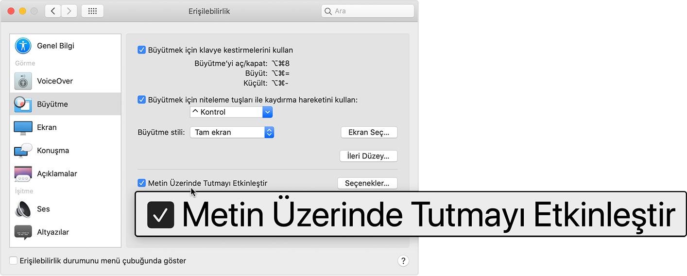 Mac'te büyütme veya küçültme - Apple Destek