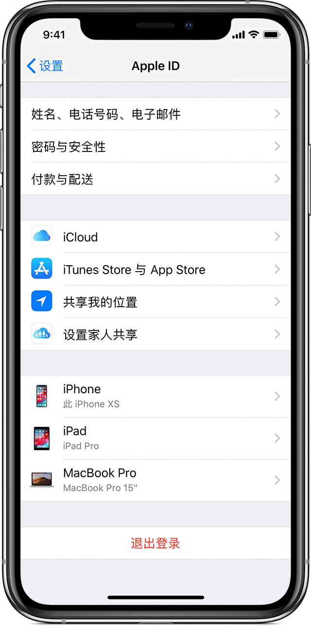 iPhone,其中显示了 Apple ID 屏幕