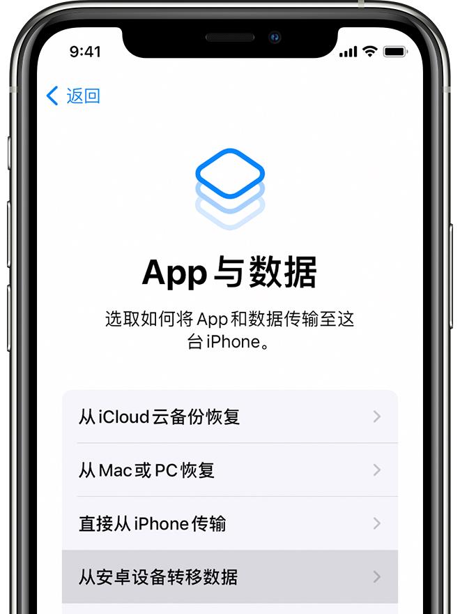 """iPhone 上的""""App 与数据""""屏幕"""