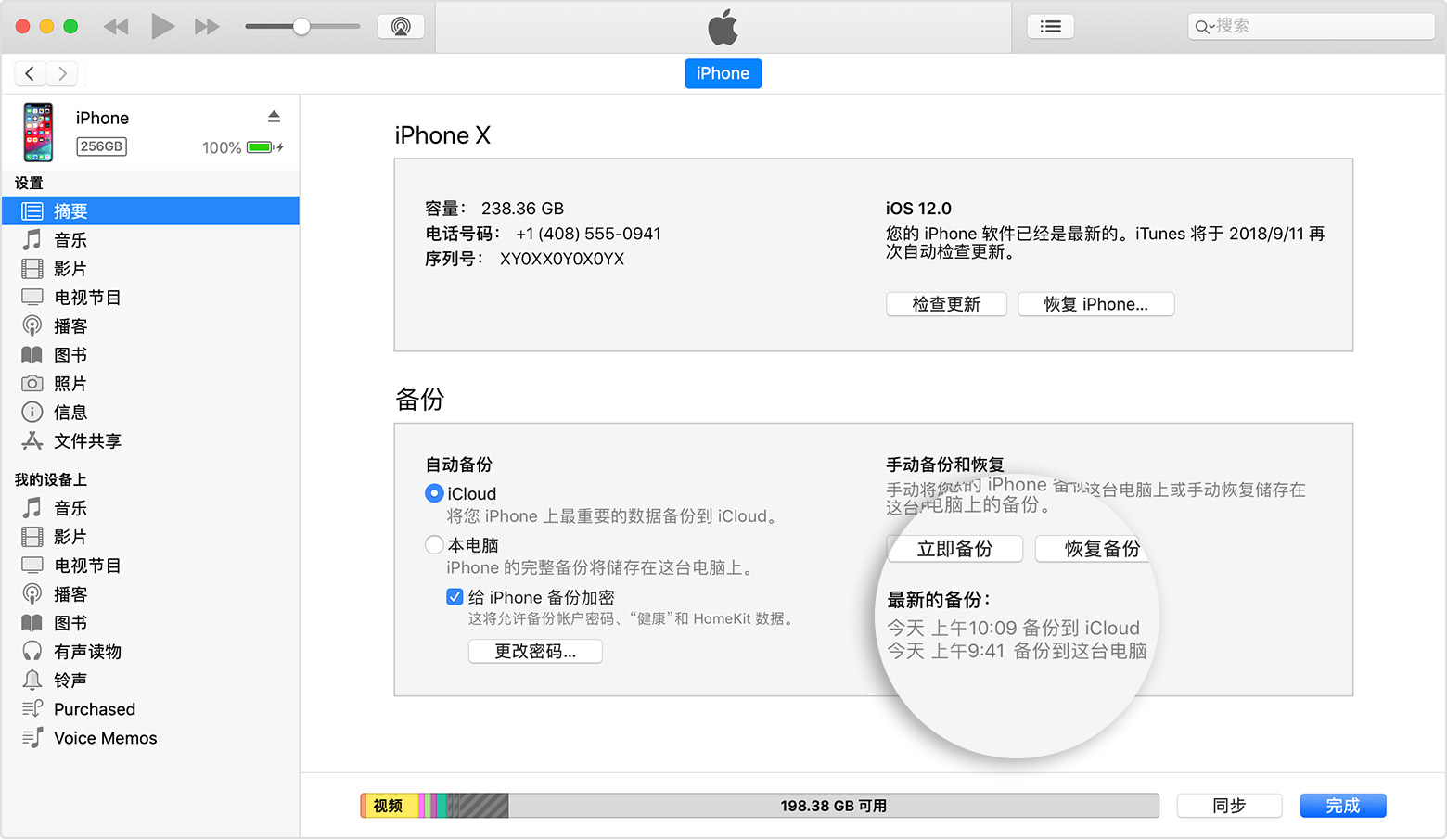 """iTunes""""摘要""""面板"""
